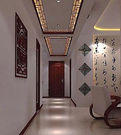 中式风格走廊吊顶装修效果图
